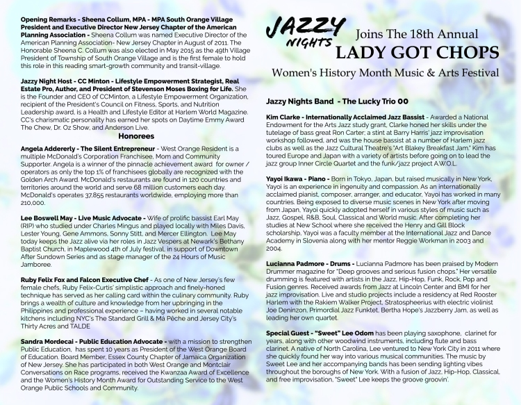 jazzy Nights Womens History Month Celebration 202 by Gregory burrus Wo Flyer inside